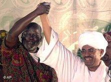 Garang (left) and Bashir (photo: AP)