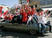 أنصار سعد الحريري يحتفلون بفوزه في الانتخابات: الصورة، أ ب