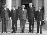 ممثلو دول حلف بغداد من العراق، إيران، تركيا وبريطانيا، الصورة: أ ب