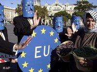 مظاهرة احتجاجية على السياسة الزراعية للاتحاد الأوربي تجاه الدول الجنوبية لحوض المتوسط، الصورة: أ ب