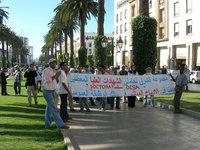 أكاديميون عاطلون عن العمل يتظاهرون في الرباط ضد سياسة سوق العمل، الصورة: دافيد زيبرت