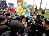 الويغوريون يطالبون من اسطنبول بمقاطعة الألعاب الأولمبية، الصورة: د.ب.ا