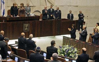 ميركل تلقي كلمتها أمام الكنيست الإسرائيلي، الصورة: أ.ب