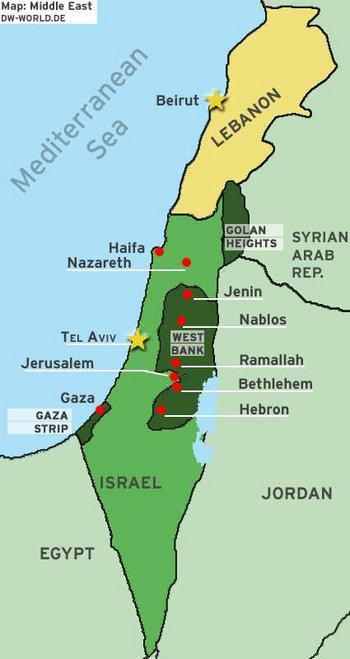 خريطة تبين موقع هضبة الجولان والحدود مع سوريا