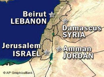 خارطة سياسية لإسرائيل وجيرانها، الصورة: أ.ب