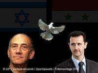 الأسد وأولمرت، الصورة: أ.ب