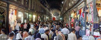 احدى أسواق مدينة دمشق، الصورة: أ.ب