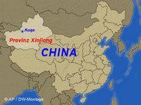 خريطة للصين، يظهر عليها إقليم شينجيانغ Xinjiang