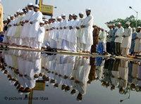 مسلمون هنود يؤدون الصلاة، الصورة: د.ب.ا