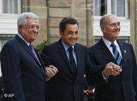 ساركوزي، عباس، أولمرتن الصورة: ا.ب