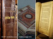 photomontage of the Bible, the Koran and the Torah (source: AP/DW)