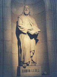 كان رامون لول، ويكيبيديا، منحوتة تمثله في جامعة برشلونة