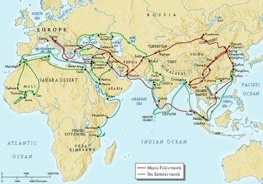 خريطة تبين رحلات ابن بطوطة، المصدر ،  Ilankai Tamil Sangam