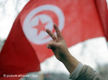 متظاهر تونسي ضد نظام بن علي، الصورة د ب أ