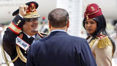 القذافي في ايطاليا. الصورة: أ ب