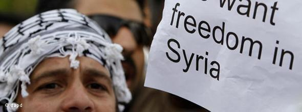 Demonstrator in front of the Syrian embassy in Cyprus (photo: dapd)