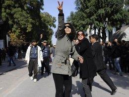 Women protesting in Tunis (photo: AP)
