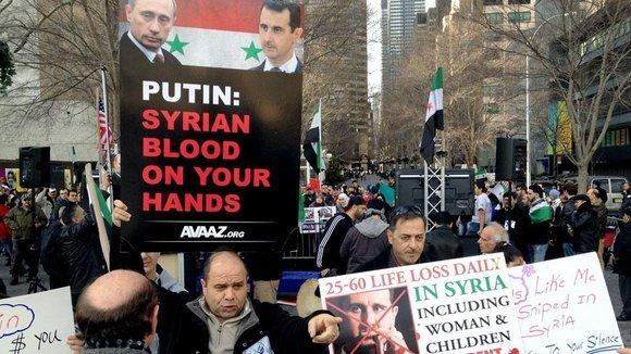 An anti-Assad demonstration outside the seat of the UN in New York (photo: dpa)