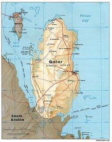 Karte von Katar; Foto: Wikimedia Commons