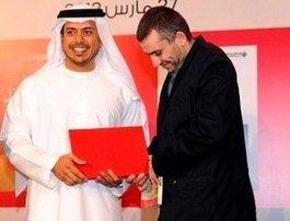 Rabee Jaber (rechts) während der Preisverleihung des International Prize for Arabic Fiction; Foto: Susannah Tarbush
