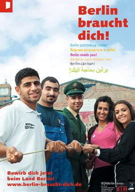 """Campaign poster of """"Berlin braucht dich!"""" showing young migrants in various job uniforms (photo: www.berlin-braucht-dich.de)"""