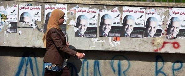 Sabahi campaign posters in Cairo (photo: AP)