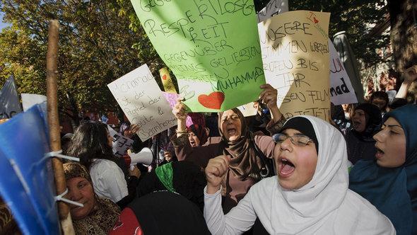 """مظاهرة ضد فيلم """"براة المسلمين"""" في مدينة فرايبورغ الألمانية. أ ف ب"""