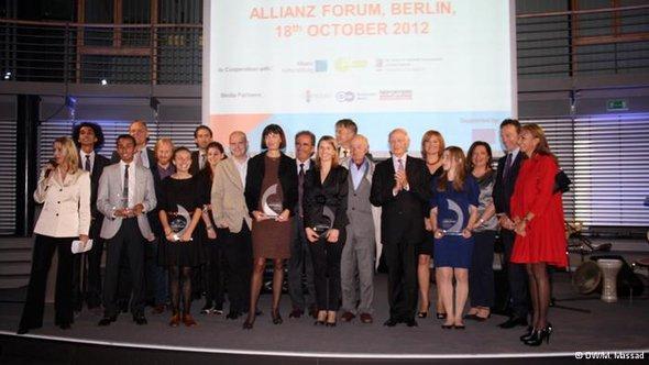 أندريه أزولاي خلال حفل تقديم جائزة آنا ليند للأعمال الصحفية المتميزة في برلين أكتوبر 2012