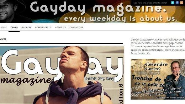 Screenshot of the gay-right website 'Gayday magazine' (source: Gayday magazine)