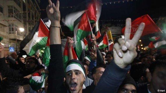 احتفالات في رام الله بترقية مكانة الفلسطينيين بالأمم المتحدة