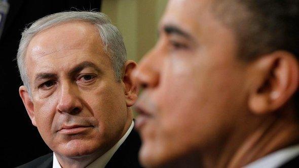 الرئيس الأمريكي باراك أوباما ورئيس الوزراء الإسرائيلي بنيامين نتنياهو. أ ف ب