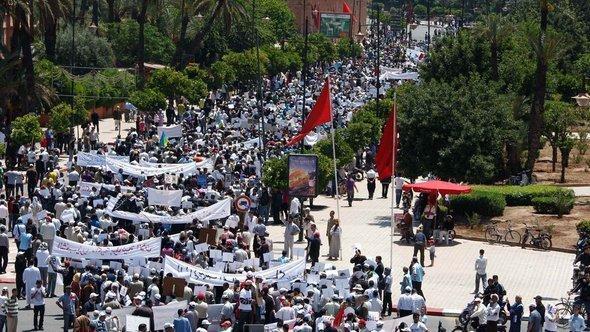 احتجاجات لحركة 20 فبراير في مراكش.  أ ب.
