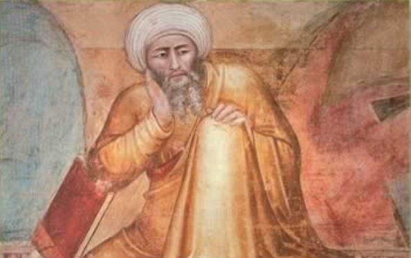 Ibn Ruschd or Averroes (Detail from 'Triunfo de Santo Tomás de Aquino' by Andrea Bonaiuto c. 1368)