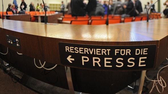 أماكن الصحفيين في المحكمة الإقليمية العليا في مدينة ميونخ. د ب أ