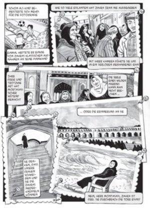صور من النسخة الألمانية رواية جنة زهرة المصورة لكل من أمير وخليل. حقوق النشر  First Second