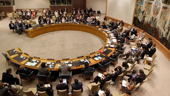 إحدى جلسات مجلس الأمن الدولى حول سوريا. د أ ب د