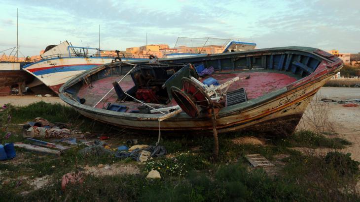 أحد قوارب اللاجئين. Picture Alliance