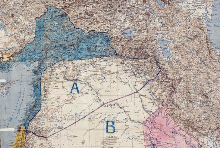خريطة اتفاقية سايكس بيكو التي وقعها كل من الدبلوماسيين البريطاني مارك سايكس والفرنسي فرانسوا بيكو في الثامن من مايو/ أيار عام 1916 بعد الحرب العالمية الأولى.  Image: The National Archives, UK – public domain