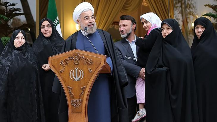 "Iran's President Hassan Rouhani at a press conference after the ""nuclear deal"" (photo: Tasnim)"