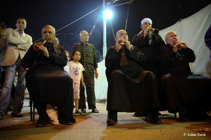 الموسيقى الشعبية المصرية والمزمار البلدى في مهرجان الفن ميدان، بالقاهرة 2012.  Photographer : Lobna Tarek