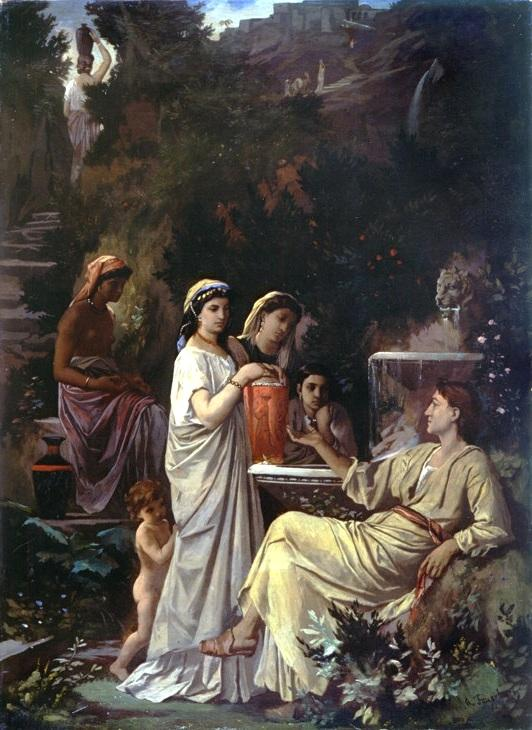 "The painting shows how Anselm Feuerbach imagined the Persian poet Hafez as ""The Fairy-tale teller"" in 1866 (source: Museum Pfalzgalerie Kaiserslautern des Bezirksverband Pfalz/Wikipedia)"