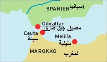 خريطة تبين المدينتين الإسبانيتين سبتة ومليلة، المقتطعتين من شمال إفريقيا. map: DW