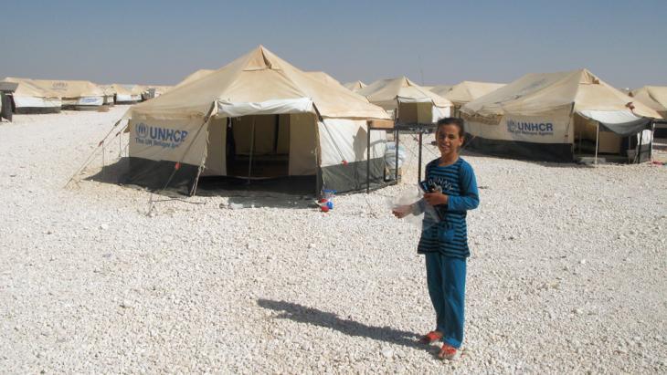 Blick auf das Flüchtlingscamp Zaatari; Foto: picture-alliance/dpa