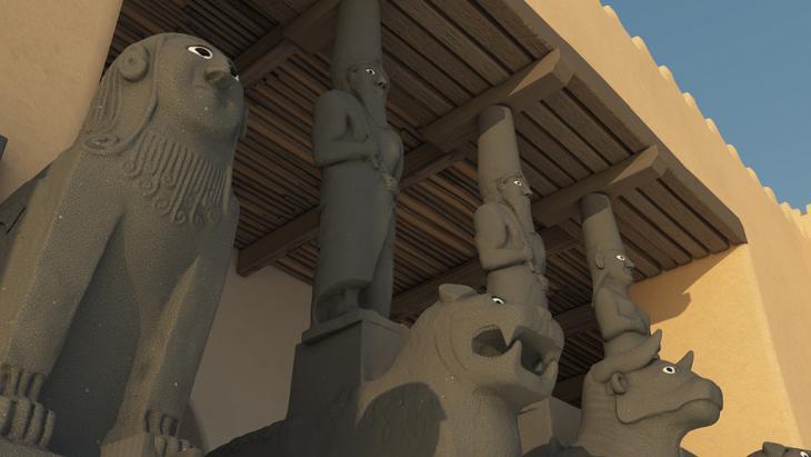 Virtuelle Rekonstruktion: Bildwerke der Eingangsfront Westpalast; Foto: Projekt der Bundeskunsthalle, des Vorderasiatischen Museums (SMB), der TU Darmstadt und Architectura Virtualis.