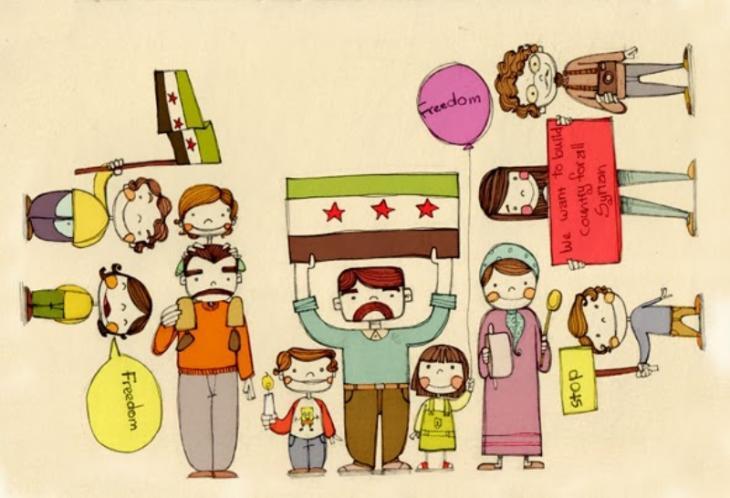 """إحدى لوحات الفنانة السورية ديالا برصلي: """"بطاقة للأطفال السوريين"""". Foto: Diala Brisly"""