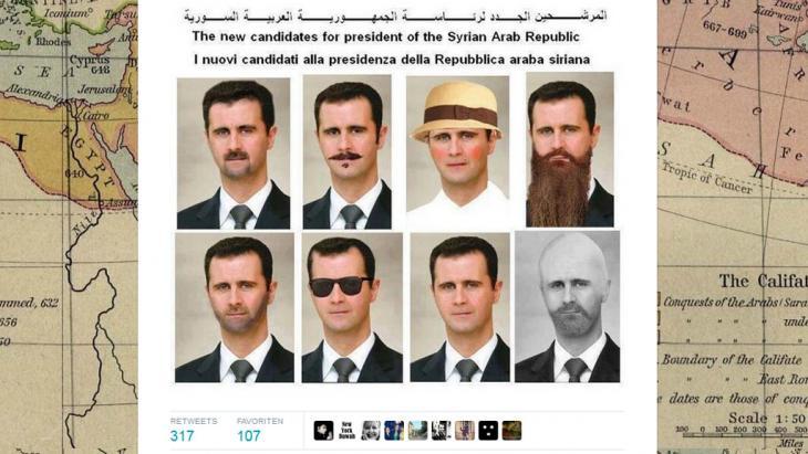 Assad der Mann der vielen Gesichter und derselben Person: Karikatur auf Twitter zur Präsidentschaftswahl in Syrien; Foto: Screenshot Twitter