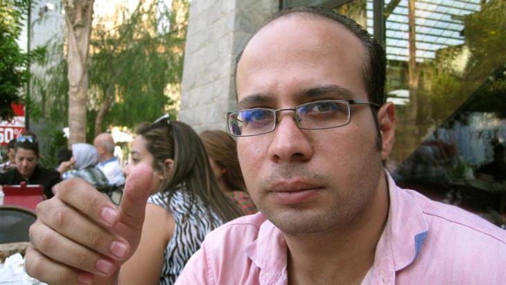أحمد ماهر مؤسس حركة 6 إبريل الشبابية المصرية في القاهرة. Foto: dpa/picture-alliance