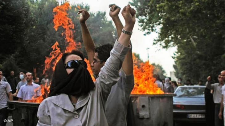 Gewaltsame Proteste in Teheran im Sommer 2009; Foto: AP