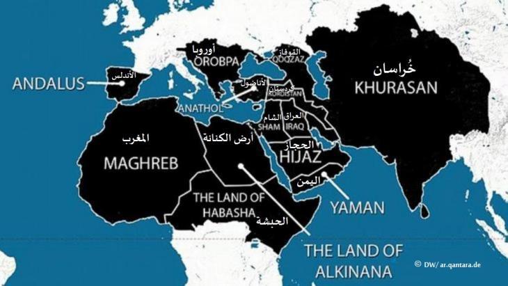"""خريطة الشرق بحسب تصورات تنظيم """"الدولة الإسلامية"""". Foto: DW/ ar.qantara.de"""