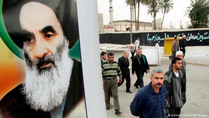صورة للمرجع الشيعي الأعلى آية الله علي السيستاني في العراق